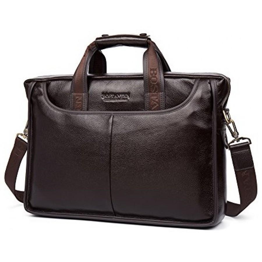 b498efde9050 CarryBag - Мужская кожаная сумка Bostanten B10023-13 коричневого цвета