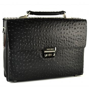 """Кожаный портфель """"под страуса"""" GA H-2602ABC black"""