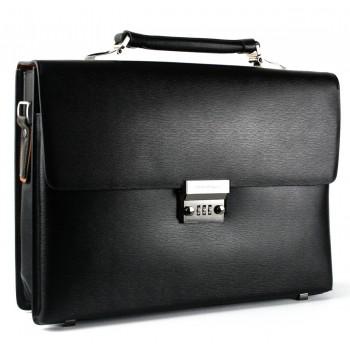 Кожаный портфель SF H-2602AB black