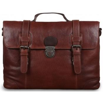 Кожаный портфель Ashwood Leather 4554 cognac