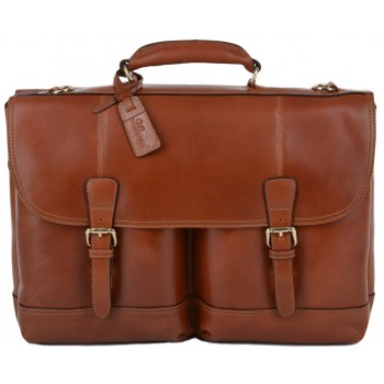 Кожаный портфель Ashwood Leather Henry cognac