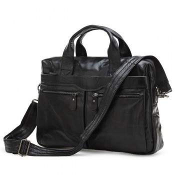 Кожаный портфель JMD 7122A black