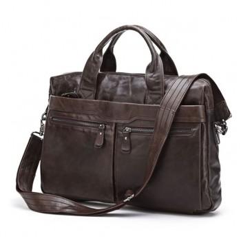 Кожаный портфель JMD 7122C dark coffee