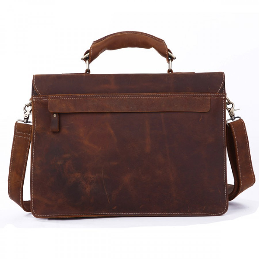 847374070bb8 CarryBag - Потертый кожаный портфель коричневого цвета JMD 7164R