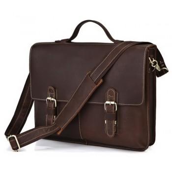 Кожаный портфель JMD 7090R dark brown