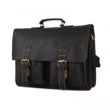 Кожаный портфель JMD 7105R-2 dark brown