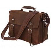 Кожаный портфель-рюкзак JMD 7161R dark brown