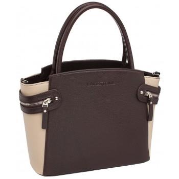 Женская кожаная сумка Lakestone Hacket brown/beige