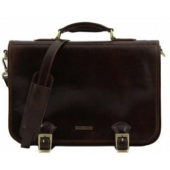 Кожаный портфель Tuscany Leather Ancona TL140866 dark brown