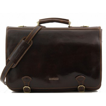 Кожаный портфель Tuscany Leather Ancona TL10025 dark brown