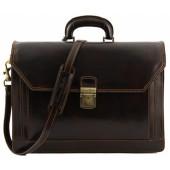 Кожаный портфель Tuscany Leather Roma TL10026 dark brown