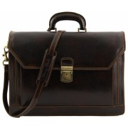Кожаный портфель Tuscany Leather Roma TL10026 dark brown