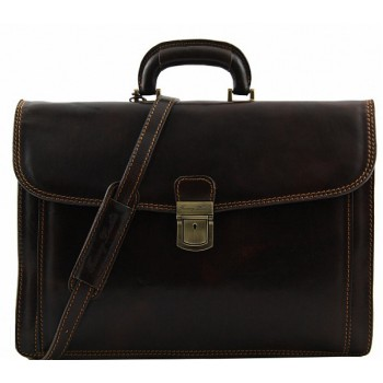 Кожаный портфель Tuscany Leather Napoli TL10027 dark brown
