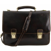 Кожаный портфель Tuscany Leather Firenze TL10028 dark brown