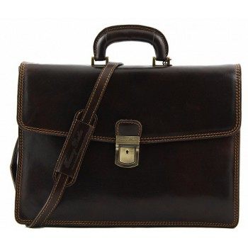 Кожаный портфель Tuscany Leather Amalfi TL10050 dark brown