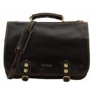 Кожаный портфель Tuscany Leather Capri TL10068 dark brown