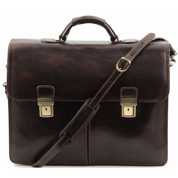 Кожаный портфель Tuscany Leather Bolgheri TL141144 dark brown