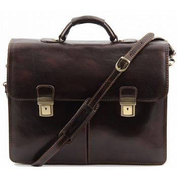 Кожаный портфель Tuscany Leather Bolgheri TL141144 dark brown