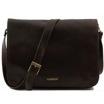 Сумка свободного стиля Tuscany Leather Messenger double TL90475 dark brown