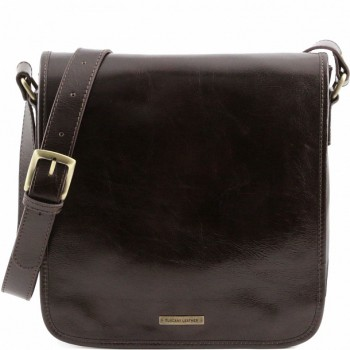 Мужская сумка Tuscany Leather Messenger TL141260 dark brown