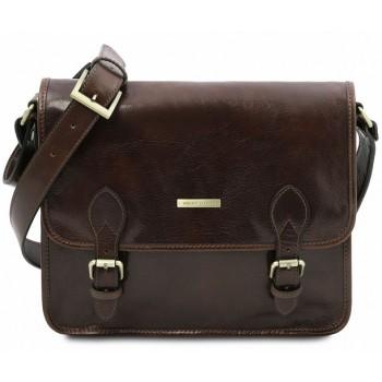 Кожаная сумка мессенджер Tuscany Leather Postina TL141288 dark brown