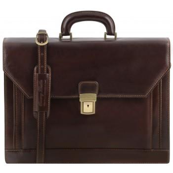 Кожаный портфель Tuscany Leather Roma TL141349 dark brown