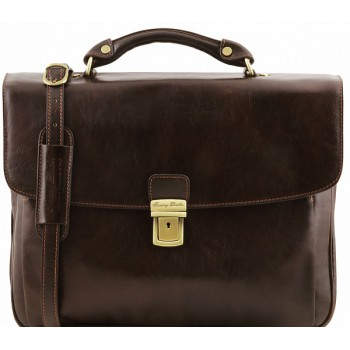 Кожаный портфель Tuscany Leather Alessandria TL141448 dark brown