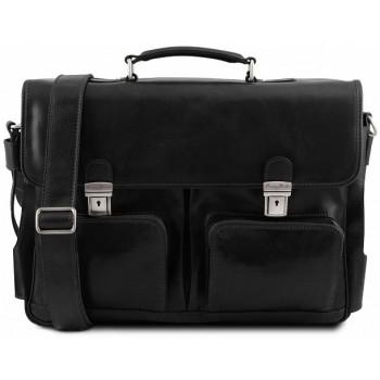 Кожаный портфель Tuscany Leather Ventimiglia TL141449 black