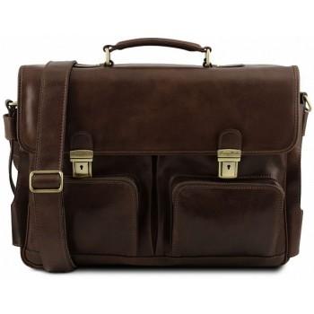 Кожаный портфель Tuscany Leather Ventimiglia TL141449 dark brown