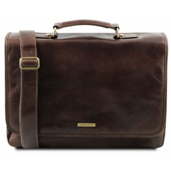 Кожаный портфель Tuscany Leather Mantova TL141450 dark brown