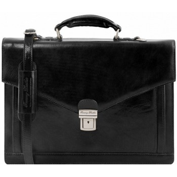 Кожаный портфель Tuscany Leather Volterra TL141544 black