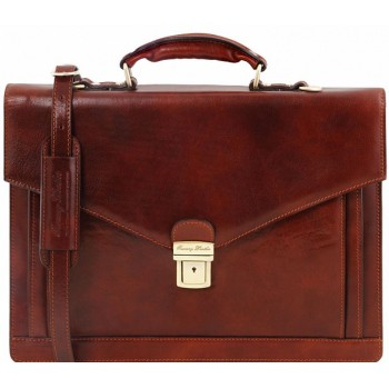 Кожаный портфель Tuscany Leather Volterra TL141544 brown
