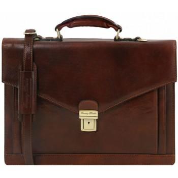 Кожаный портфель Tuscany Leather Volterra TL141544 dark brown