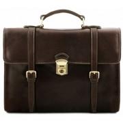 Кожаный портфель-рюкзак Tuscany Leather Viareggio TL141558 dark brown