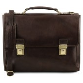 Кожаный портфель Tuscany Leather Trieste TL141662 dark brown