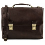 Кожаный портфель Tuscany Leather Trieste TL141662 dark brown