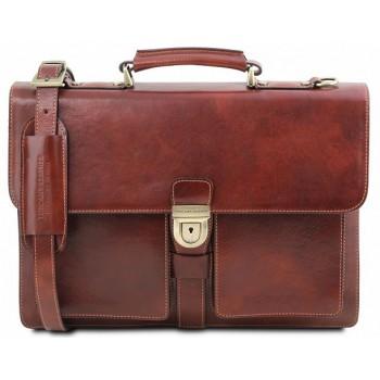 Кожаный портфель Tuscany Leather Assisi TL141825 brown