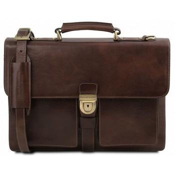 Кожаный портфель Tuscany Leather Assisi TL141825 dark brown