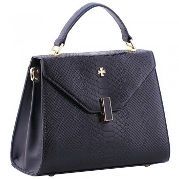 Женская кожаная сумка Narvin 9997 N.Anaconda D.Blue