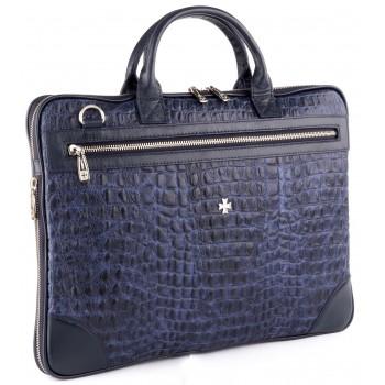 Деловая сумка NARVIN (Vasheron) 9742-N.Croco/D.Blue