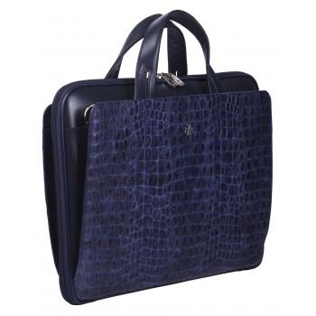Деловая сумка NARVIN (Vasheron) 9753-N.Croco/D.Blue